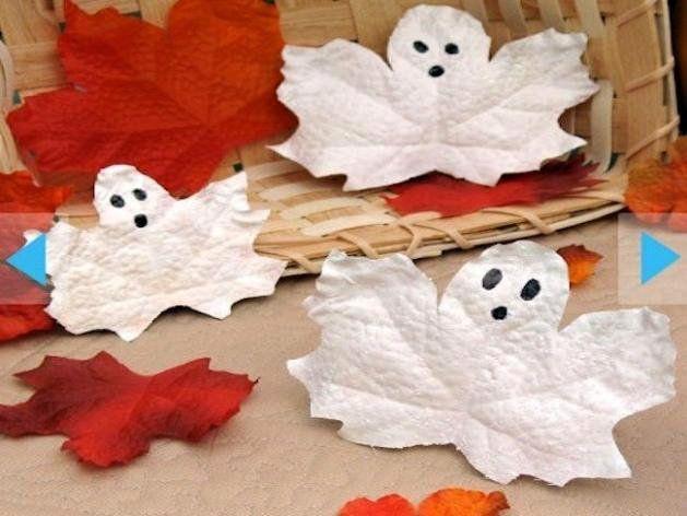 decoración para Halloween casera con hojas fantasma
