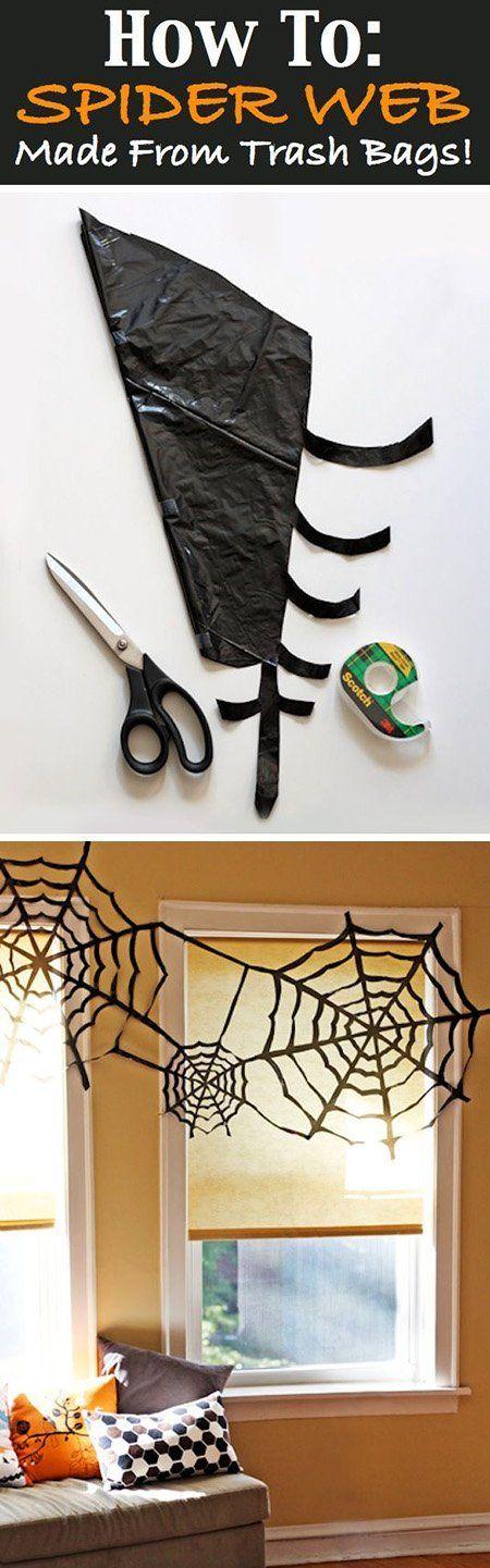 Decoración para Halloween casera: tela de araña casera