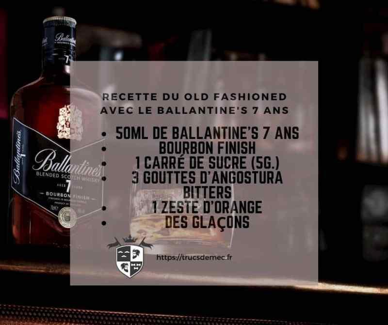 Recette Old Fashioned Ballantine's 7 ans Bourbon Finish