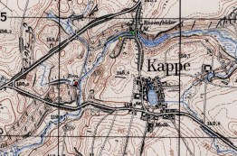 Our Mill (yellow dot), groats mill (green dot) and distillery (red dot) on the pre-war German map.
