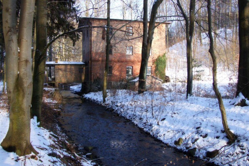 Winter view of Mill from the west.