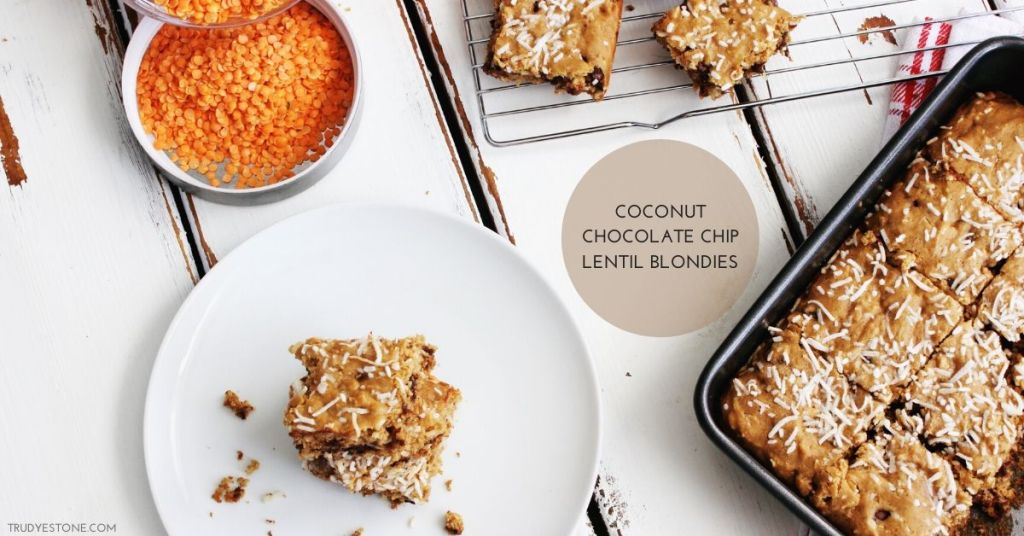 These moist, chocolaty, homemade Coconut Chocolate Chip Lentil blondies was one of the winning entries for 'The Star of the Show' with Chef Michael Smith and Lentils Canada. They contain nutritious red lentils, a healthy legume that is a surprising but delicious butter substitute!