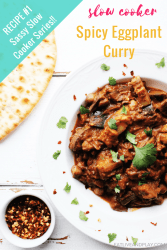 In addition to curry this easy eggplant recipe uses some other beautiful Indian spices like garam masala and cumin. Coconut milk gives it a velvety texture. Click through for recipe #1 in the Sassy Slow Cooker Series and sign up so you don't miss the other 2 recipes!