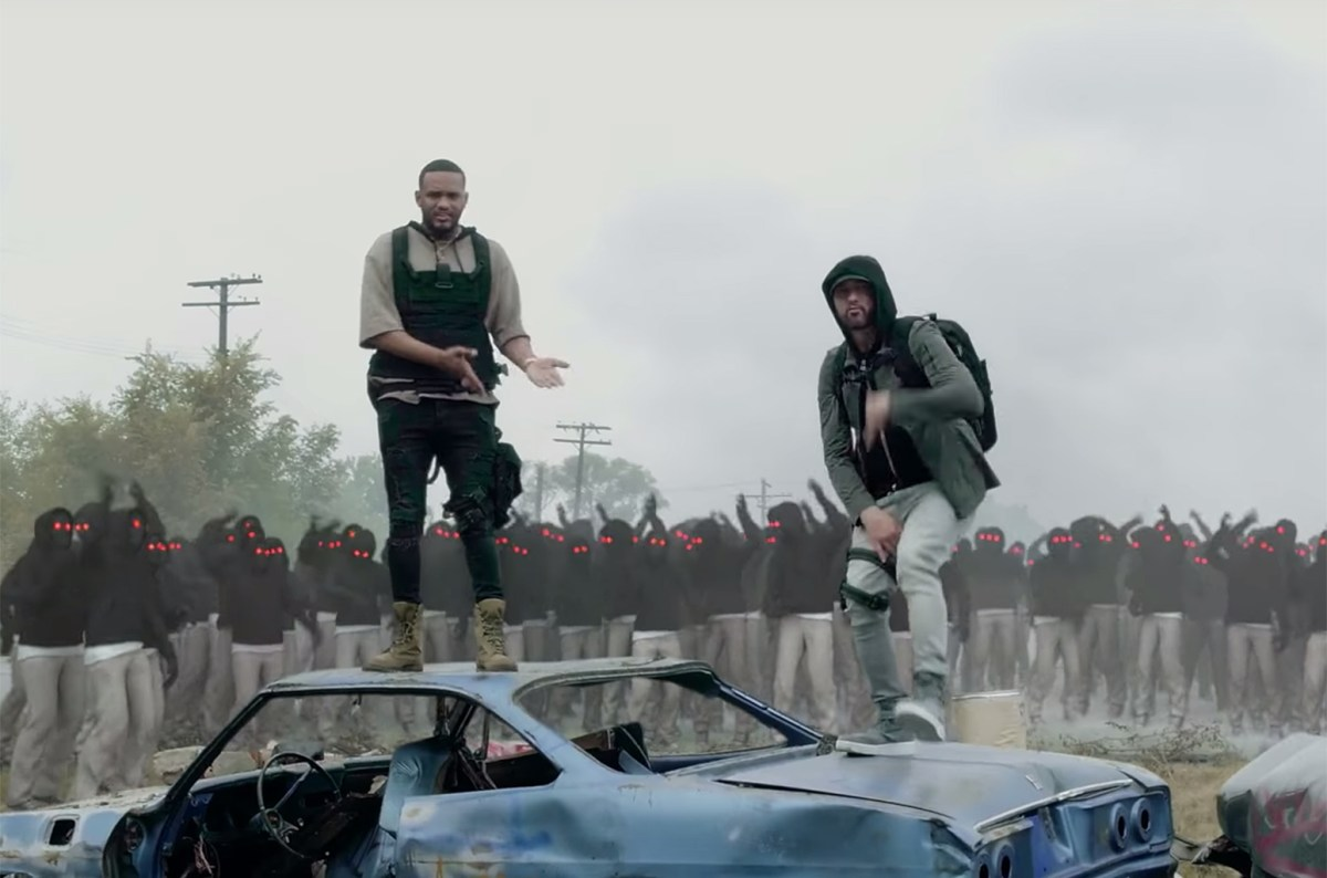 """Eminem and Joyner Lucas Are Surrounded By Copycats In """"Lucky You"""" Video"""