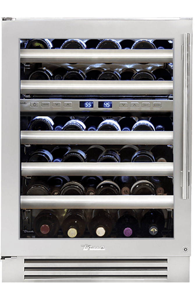 dual zone wine cabinet stainless glass