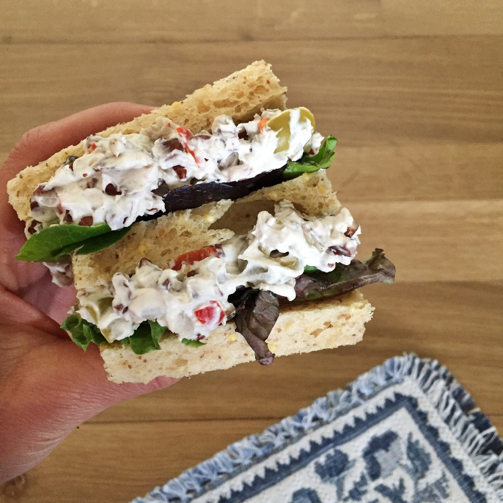Cream cheese and olive sandwich