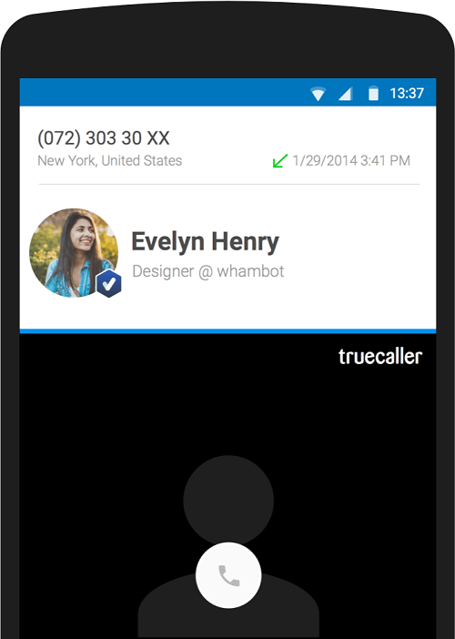 caption:Live Caller ID with Verified Badge