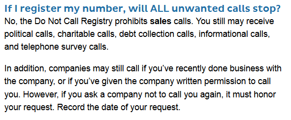 Caption: Information from Do Not Call Registry (US)