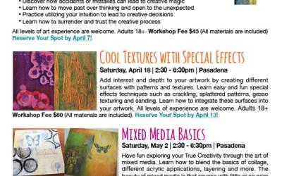 Upcoming Workshops in Pasadena & Flyer