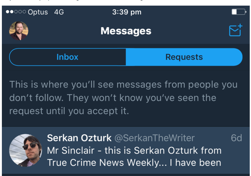 Corey Sinclair Screengrab from his Twitter claiming he didn't see message
