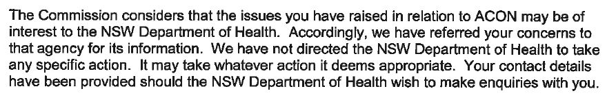 ICAC says it has raised issues about ACON with NSW Health