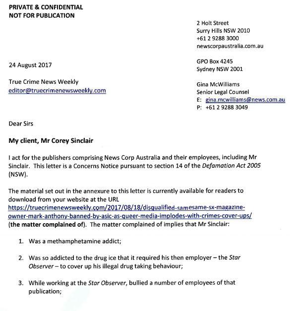 News Corp Legal Threats for Corey Sinclair_1