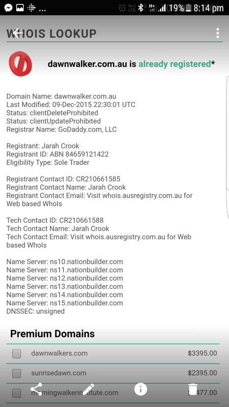 WhoIs Search that shows JarahCrook owned Dawn Walker website