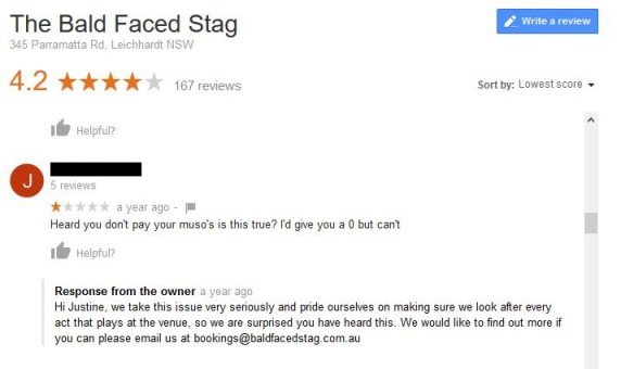 Complaints about Payment a year ago Bald Faced Stag Hotel - Google Rev