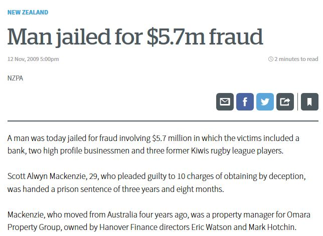 NZ Herald story 2009 about jailing