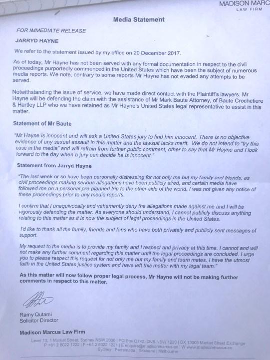 Jarryd Hayne and Lawyers Letter