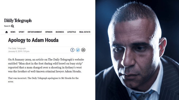 THEM NEWS CORP IDIOTS AT IT AGAIN! Daily Telegraph forced to apologise to high-profile lawyer Adam Houda after disgraceful lies about being the brother of dangerous alleged criminal