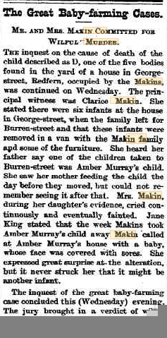 """""""BY SOME FOUL MEANS""""! The Makins & the baby farming murders"""