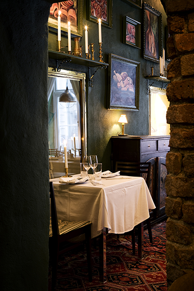Dalrot personally sourced the vintage and antiques that fill the Swedish restaurant, Djuret.