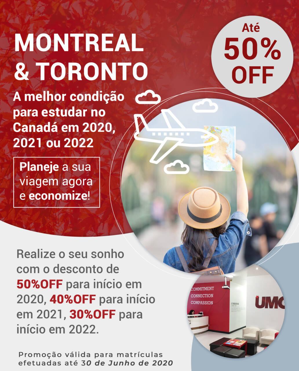 Estude em Montreal ou Toronto com até 50% de desconto
