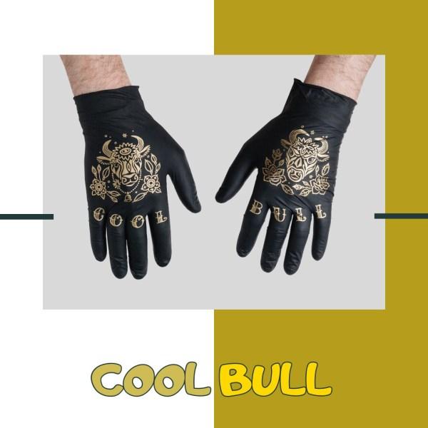 Купить нитриловые перчатки TRUEGLOVE с золотым тату принтом Cool Bull с доставкой по России и Миру