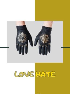 Купить нитриловые перчатки TRUEGLOVE с золотым тату принтом Love Hate с доставкой по России и Миру