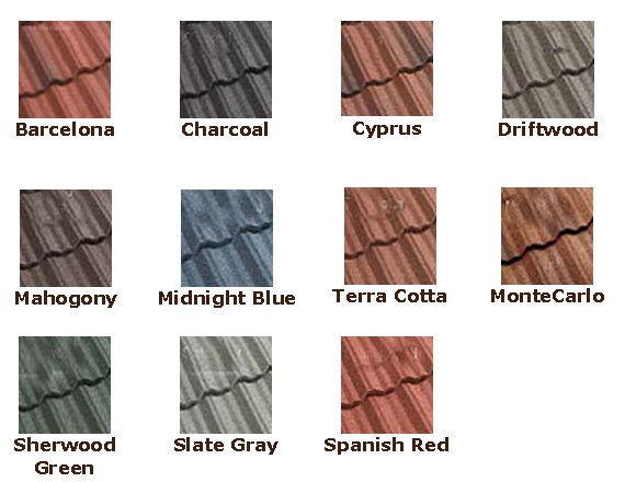 Coated Steel Metal Roof Tile Colors