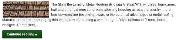 For Metal Roofing, the Sky's the Limit! - Click to Read More