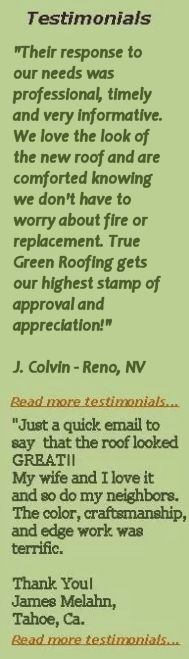 Testimonials True Green Roofing Solutions - Read More