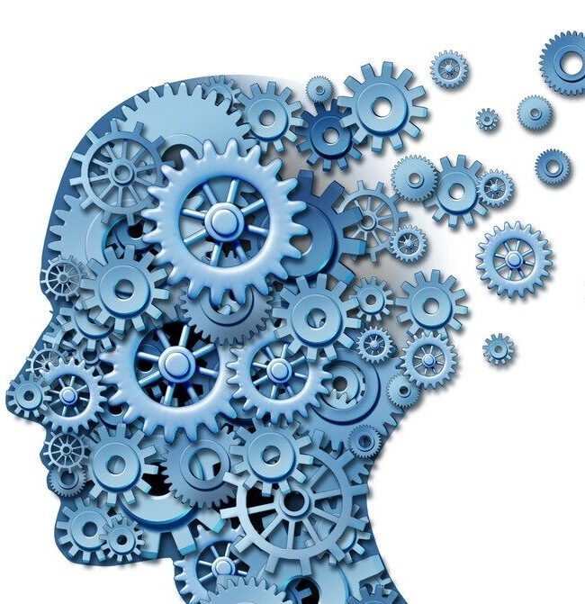 Graphic showing a human head with moving gears inside depicting mental activity and emotional dynamics