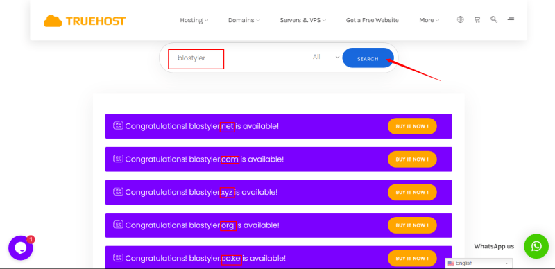 Truehost domain search bar results