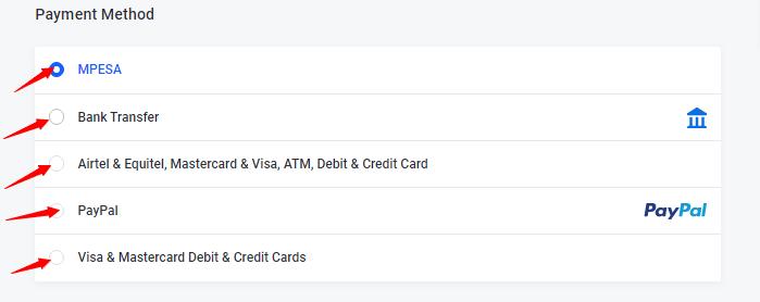 Truehost payment methods