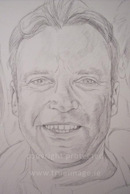 Family portrait in pencil - work in progress - step 2