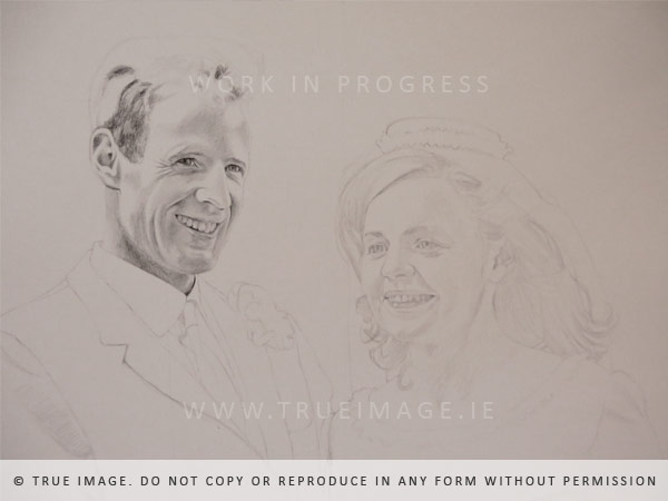 vintage wedding portrait in progress
