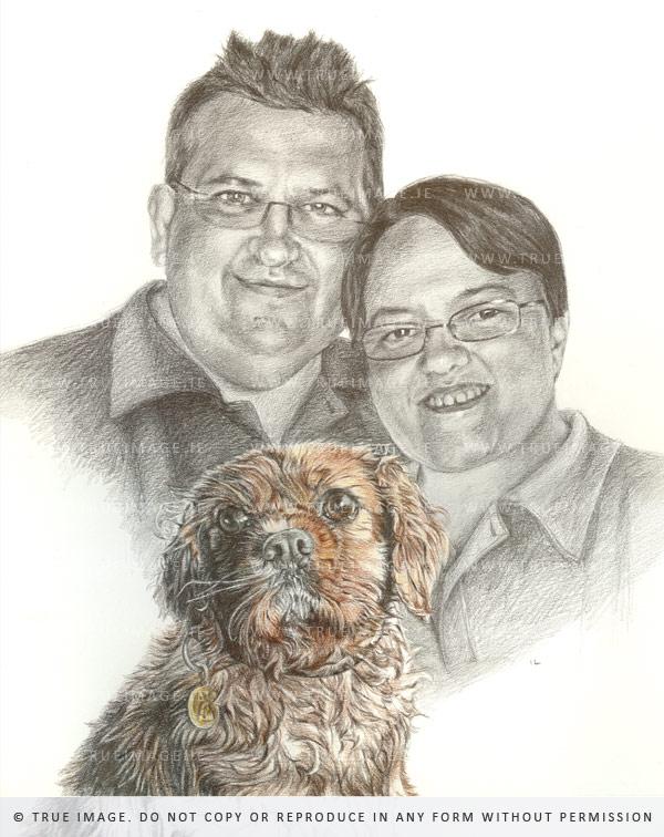 family portrait with cocker spaniel