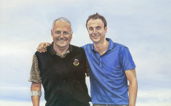 a detail of father and son portrait painting