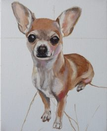progress image 1 of a chihuahua painting