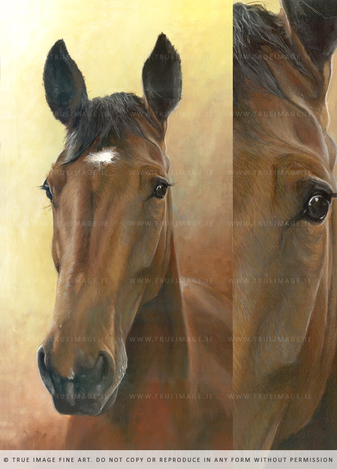 brown horse portrait painting and detail