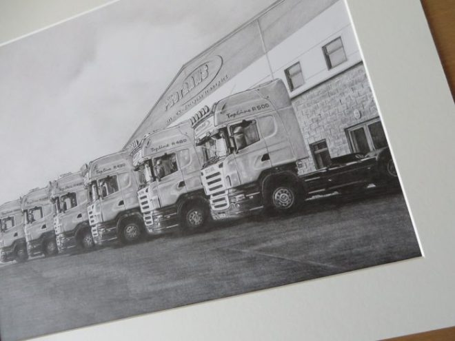 pencil trucks drawing detail