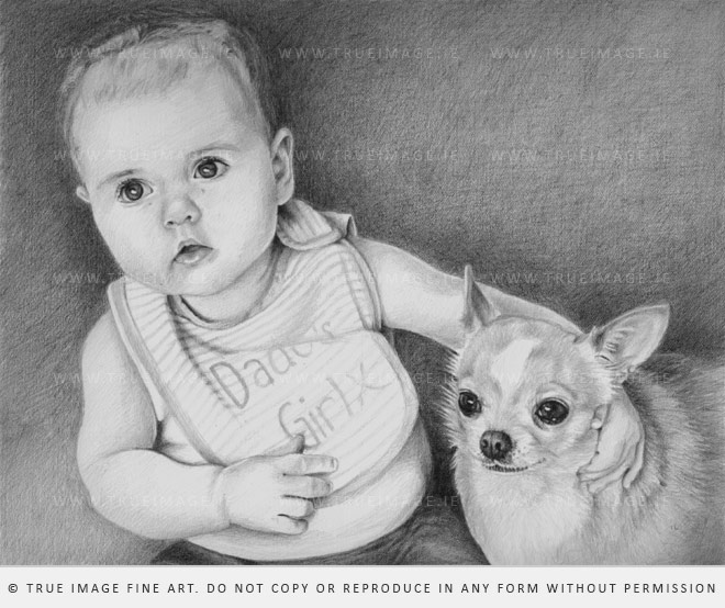 baby and chihuahua portrait