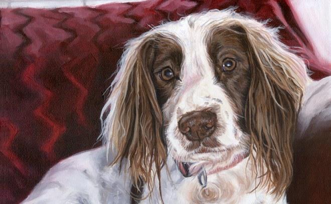 gun dog painting detail