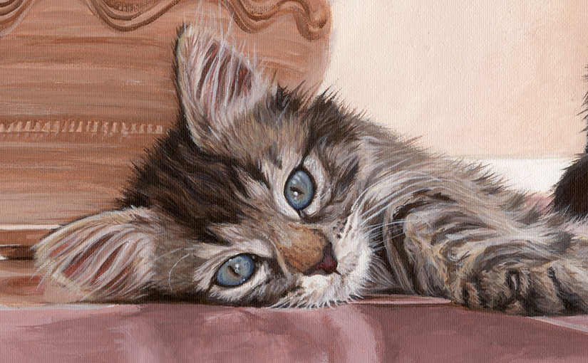 A painting of two kittens