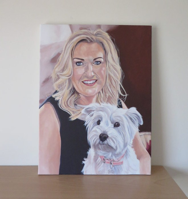 lady and dog painting