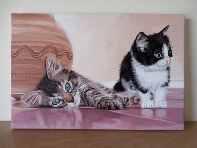two cats painting
