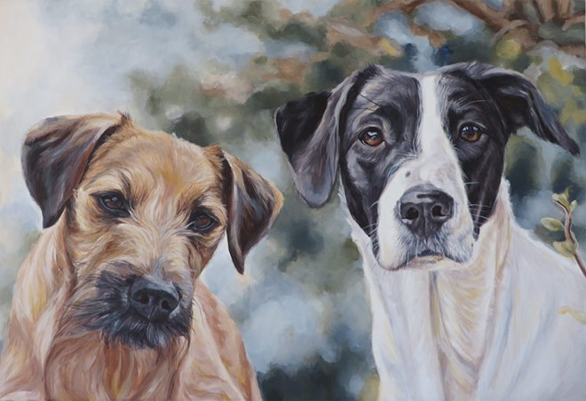 terrier and pointer painting