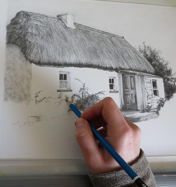 house drawing in progress
