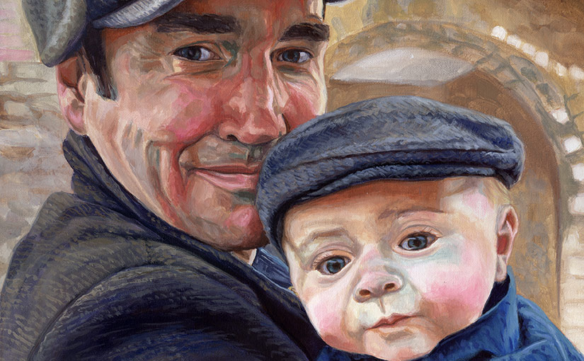 detail of a family portrait