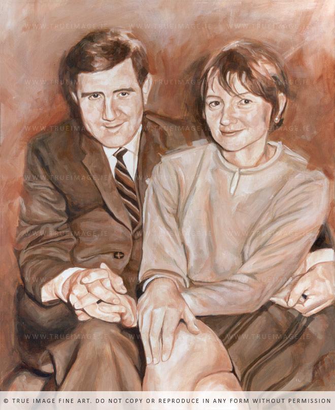 sepia toned portrait painting