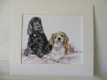 mounted portrait of two dogs