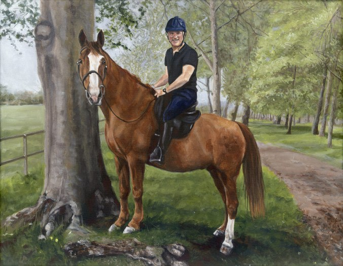 acrylic painting of a horse and jockey